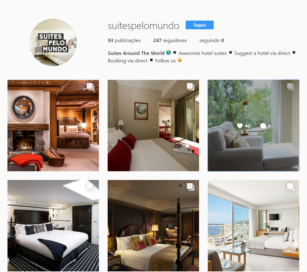 Suítes e quartos de hotel no perfil @suitespelomundo do Instagram